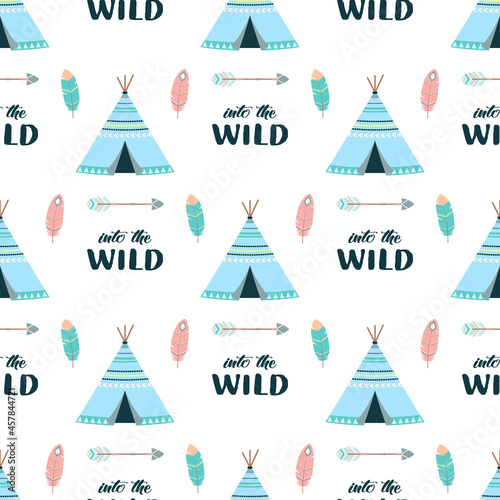 Photo seamless pattern with colored wigwams, vector illustration