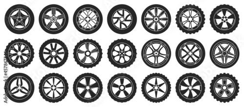 Car wheels isolated black set icon. Vector illustration vehicle tire on white background.black vector set icon car wheels .