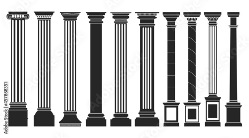 Foto Antique column black set icon