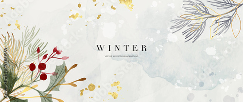 Obraz na plátne Winter background design  with watercolor brush texture, Flower and botanical leaves watercolor hand drawing