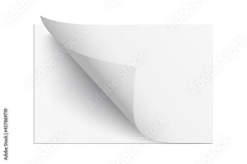Cuadros en Lienzo Page sheet with curl paper corner, 3d realistic empty new document leaf folds wi