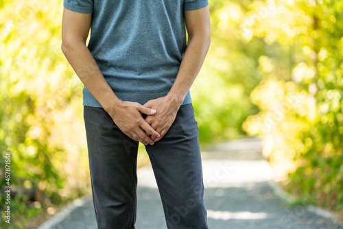 Photo Male fertility concept, pain in prostate, man suffering from prostatitis or from