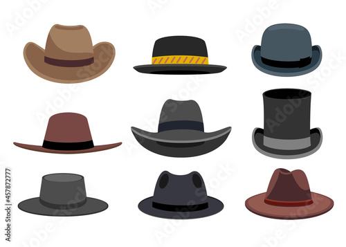 Billede på lærred Illustration Featuring Different Types of Men s Hats