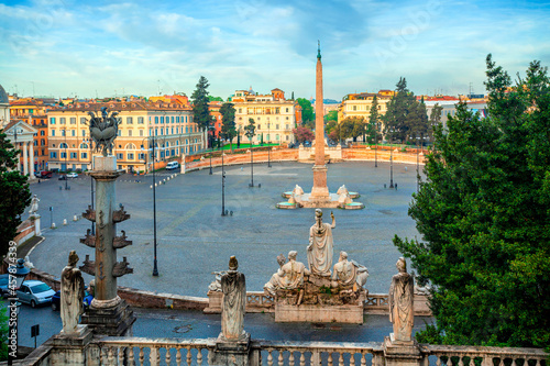 Obraz na plátně Piazza del Popolo (People's Square), Rome, Italy