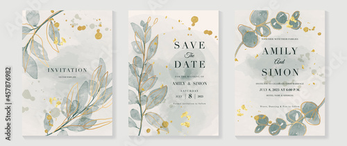 Foto Green luxury wedding invitation card background  with golden line art flower and botanical leaves, Organic shapes, Watercolor