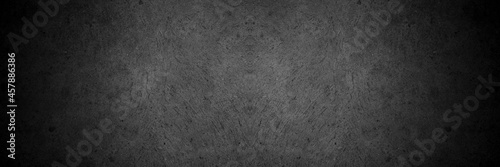 Old wall texture cement dark black gray panorama background abstract grey color design are light with white gradient background Fototapet