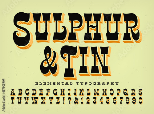 Photo Sulphur and Tin is a condensed stylized western style alphabet with 3d depth effects; good for rodeo posters, old west, circus and carnival themes, wanted posters, etc