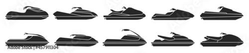 Fotografie, Obraz Jet ski vector black set icon