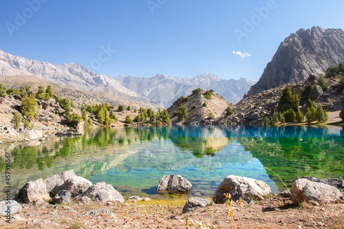 Scenic view on Alaudin lake in Fann moutains. The journey on beutiful places of Fann moutains in Tajikistan.