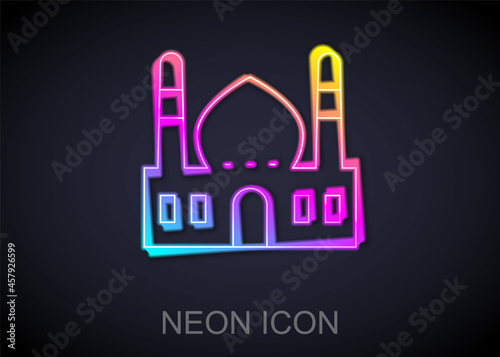 Photo Glowing neon line Muslim Mosque icon isolated on black background