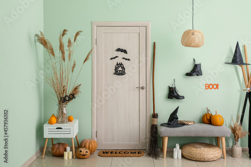 Canvas Interior of hallway with decorations for Halloween