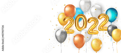 Photo 2022 Happy New Banner with gold balloons, glitter bright confetti, snow falling snow and colorful balloons