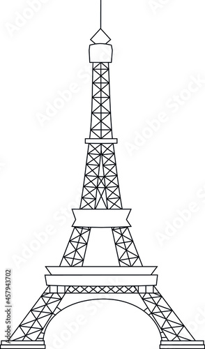 Canvastavla eiffel tower silhouette black vector