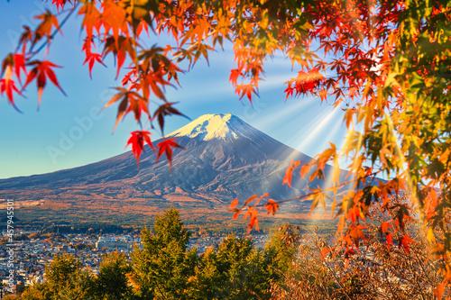 新倉山浅間公園より紅葉の富士山