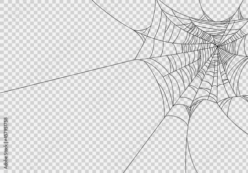 Canvas Spiderwebs isolate on png or transparent  background, happy halloween banner, te