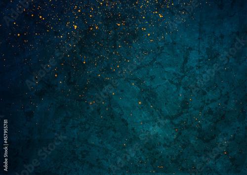 Billede på lærred Dark blue grunge texture background with small golden particles