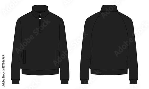Obraz na plátně Long sleeve with Short zip fleece jacket overall technical fashion Flat sketch Vector illustration template Front, back views