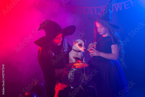 Photo Two halloween witches making a potion and conjure in halloween night
