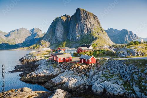 Fishing hut in morning light - Reine, Lofoten islands, Norway Fototapet