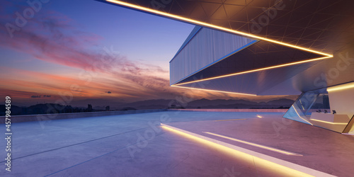 Foto Perspective view of empty cement floor with steel and glass modern building exte