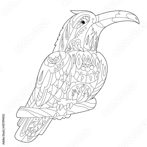 Fototapeta premium Contour linear illustration for coloring book with decorative toucan. Beautiful tropic bird, anti stress picture. Line art design for adult or kids in zen-tangle style, tatoo and coloring page.