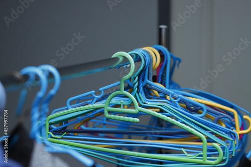 Fotografie, Obraz Clothes hangers preparing to dry clothes.