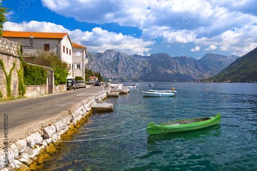 Obraz na plátně Village Perast on coast of Boka Kotor bay - Montenegro