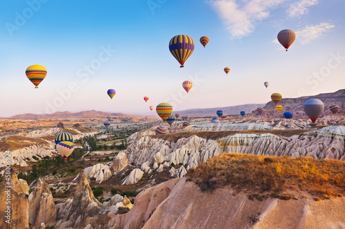 Canvastavla Hot air balloon flying over Cappadocia Turkey