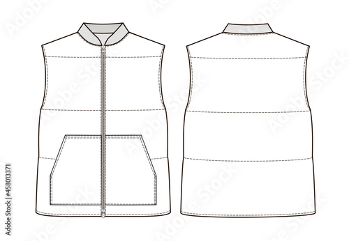 Canvas Print Fashion technical drawing of  puffer vest with zip