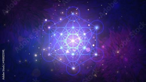 Fotografia, Obraz Glowing geometric metatron cube on floral patterns background