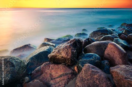 seaside rocks long exposure