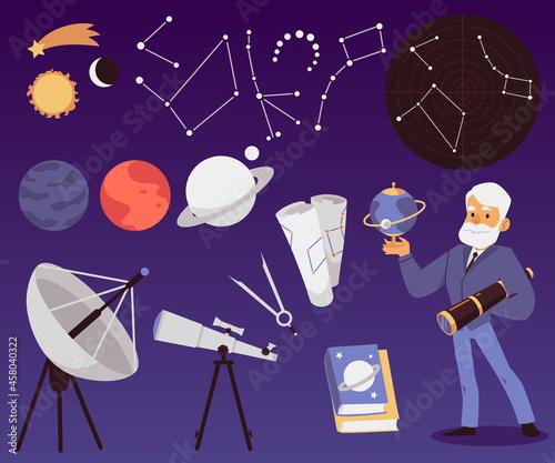Fotografie, Obraz Background with astronomy scientist exploring stars, flat vector illustration