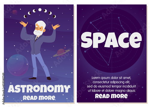 Billede på lærred Astronomy and space study banners set with astronomer flat vector illustration