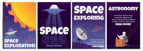 Fotografia Set of vector science posters with exploration of space, stars and planets