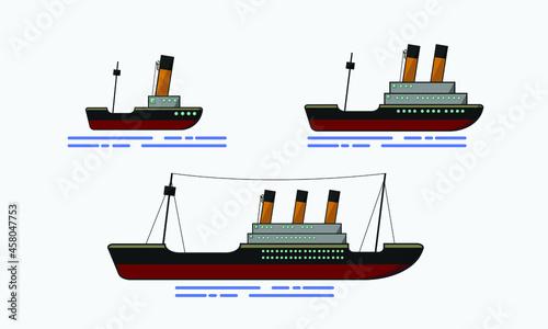 Obraz na plátně the old Steam ship on the gray background.