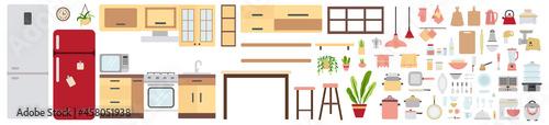 Fotografie, Obraz Kitchen furniture and equipment set