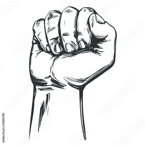 Canvas Print Raised hand up clenched into a fist icon cartoon hand drawn vector illustration