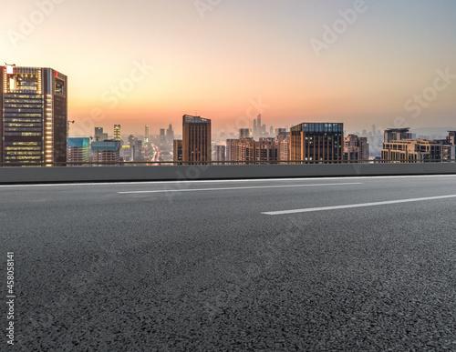 Fotografia, Obraz Panoramic skyline and empty asphalt road with modern buildings