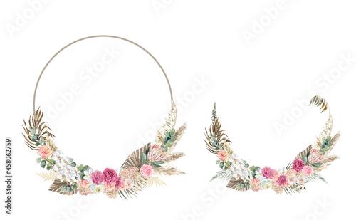 Billede på lærred Watercolor boho wreaths, frames for wedding invitations, baby shower, birthday w