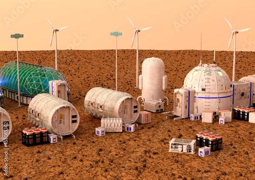 Fotografie, Obraz 3D Rendering Mars Colony