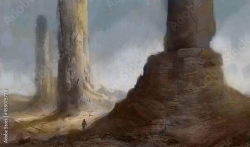 Fotografering Fantasy painting of a traveler exploring a desert landscape with rocky towers on