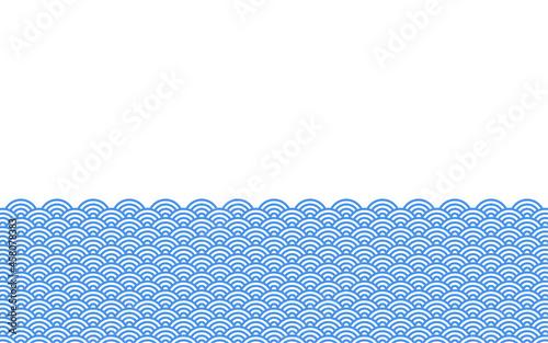 Fotografie, Obraz 日本の伝統的な模様「青海波」の下半分フレーム背景