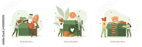 People characters donating for charity Fototapet