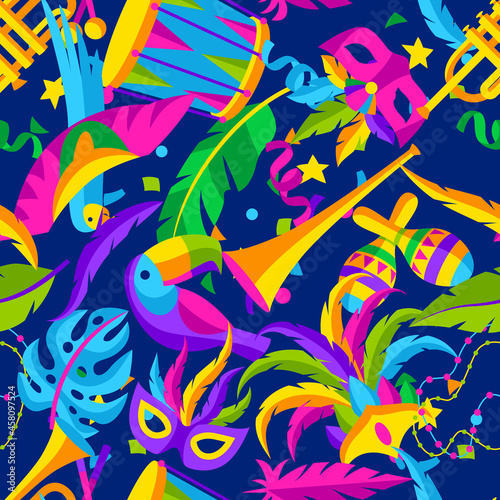Carnival party seamless pattern with celebration icons, objects and decor Fototapet