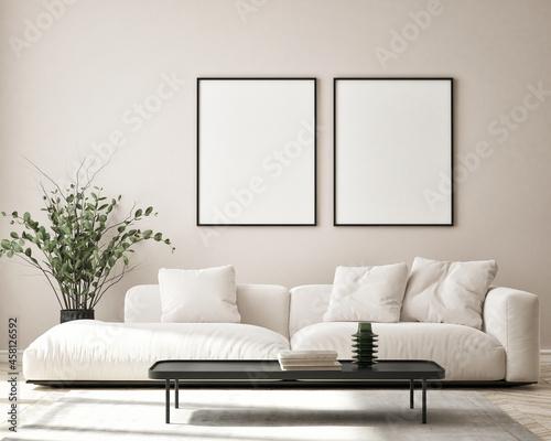 Stampa su Tela mock up poster frame in modern interior background, living room, Scandinavian st