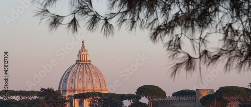 Fotografering view of the dome of St. Peter from a hill