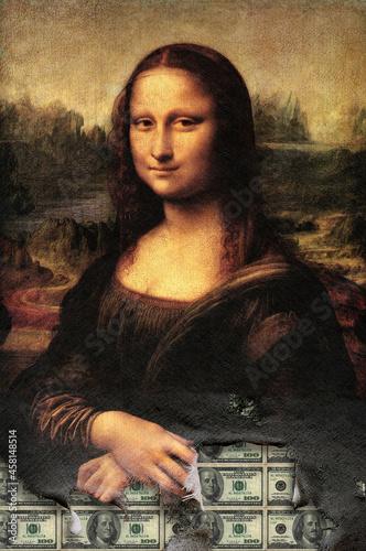 Fotografie, Obraz Mona Lisa , Money lisa , Leonardo da Vinci