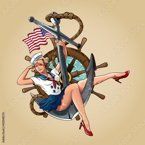 Fotografia Sailor Girl US Navy pin-up girl version