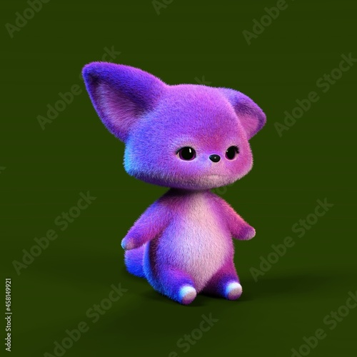 Fototapeta premium 3D-illustration of a cute and funny pink cartoon fox. isolated rendering object