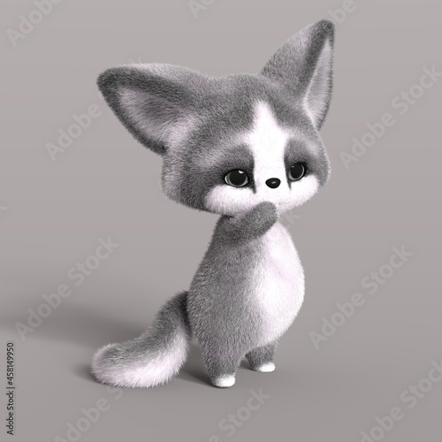 Fototapeta premium 3D-illustration of a cute and funny cartoon fox is so sorry. isolated rendering object